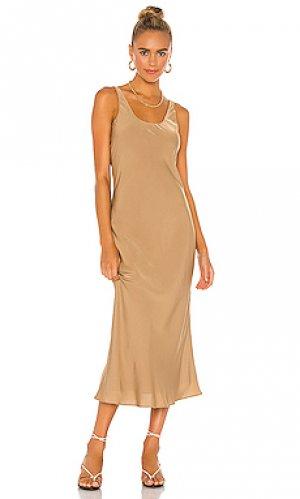 Платье миди Line & Dot. Цвет: цвет загара