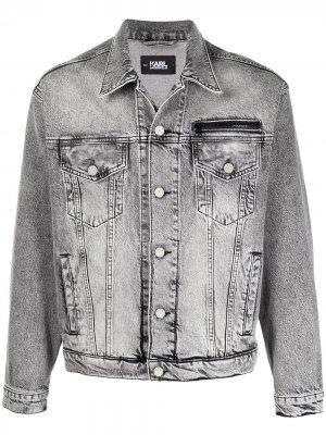 Джинсовая куртка с логотипом Karl Lagerfeld. Цвет: серый