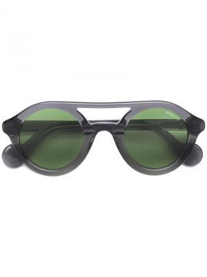 Солнцезащитные очки с двойной оправой Moncler Eyewear. Цвет: серый