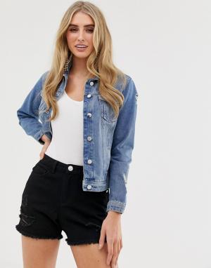 Синяя джинсовая куртка -Синий Lipsy