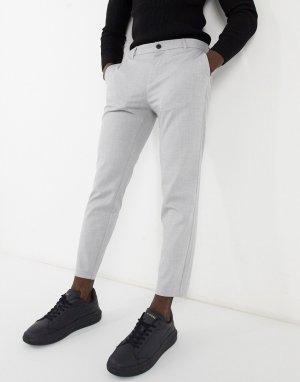 Серые брюки строгого кроя -Серый Bershka