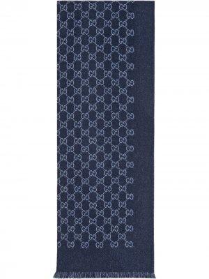 Жаккардовый шарф с узором GG Gucci. Цвет: синий