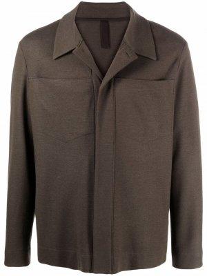 Шерстяная куртка-рубашка Harris Wharf London. Цвет: зеленый