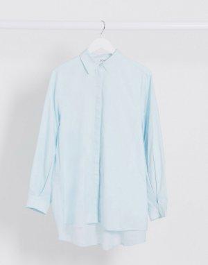 Голубая oversized-блузка из органического хлопка -Синий Monki