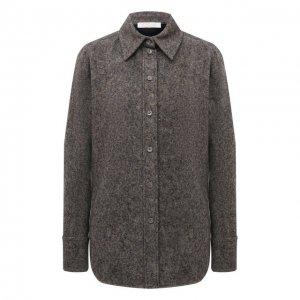 Рубашка из шерсти и шелка Chloé. Цвет: серый