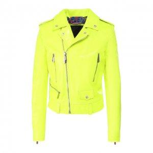 Кожаная куртка Philipp Plein. Цвет: жёлтый
