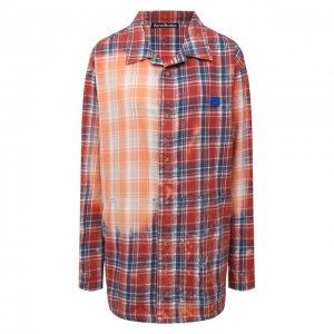 Хлопковая рубашка Acne Studios. Цвет: красный