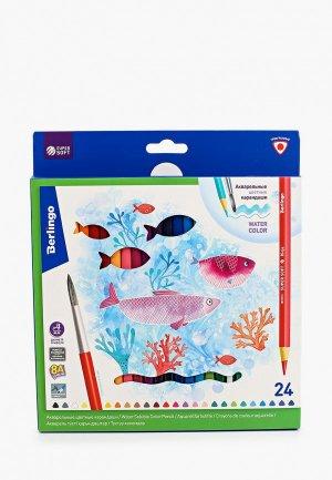 Набор для творчества Berlingo крандаши цветные SuperSoft. Рыбки, 24 цвета + кисть, трехгранные. Цвет: разноцветный