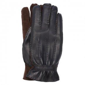 Кожаные перчатки с кашемировой подкладкой Brunello Cucinelli. Цвет: синий