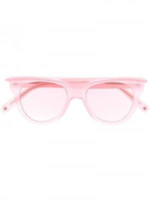 Солнцезащитные очки с кристаллами Philipp Plein. Цвет: розовый