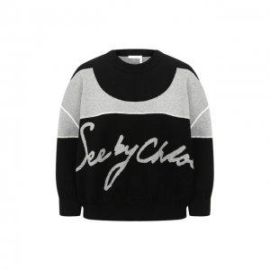 Хлопковый пуловер See by Chloé. Цвет: чёрный