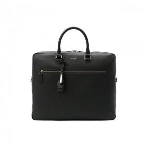 Кожаная сумка для ноутбука Saint Laurent. Цвет: чёрный