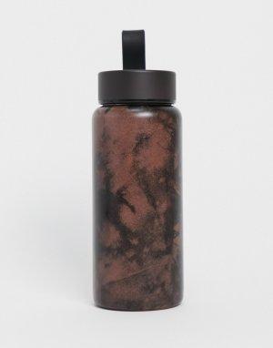 Небольшая металлическая бутылка для воды с принтом тай-дай объемом 350 мл Typo-Многоцветный TYPO