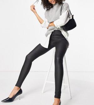 Черные зауженные джинсы с покрытием Tall-Черный цвет Topshop