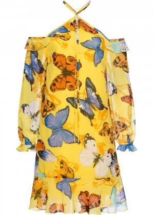 Платье с воланами bonprix. Цвет: желтый