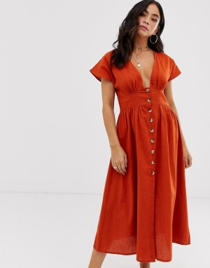 Пляжное платье на пуговицах Anmol. Цвет: оранжевый