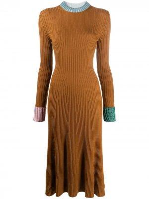 Платье-джемпер в рубчик LANVIN. Цвет: коричневый