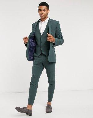 Зеленый супероблегающий жилет -Зеленый цвет ASOS DESIGN