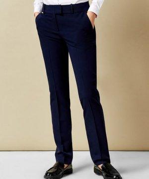 Прямые брюки из поливикозы O`Stin. Цвет: темно-синий
