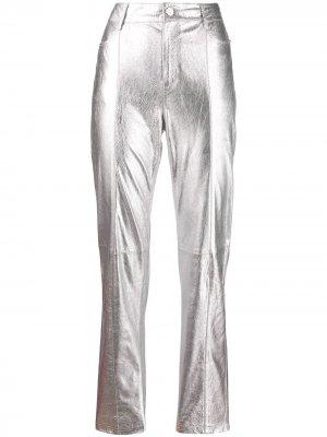 Брюки прямого кроя с эффектом металлик Karl Lagerfeld. Цвет: серебристый