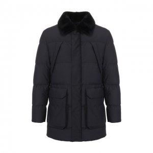 Утепленная куртка с меховой отделкой Corneliani. Цвет: синий
