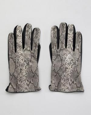 Перчатки из искусственной змеиной кожи -Мульти ASOS DESIGN