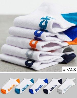 Набор из 5 пар коротких спортивных носков белого цвета Jetta-Белый Bench