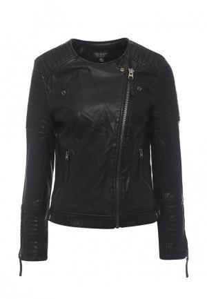 Куртка кожаная Topshop TO029EWSCP21. Цвет: черный