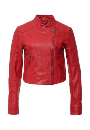 Куртка кожаная Tommy Hilfiger Denim. Цвет: красный