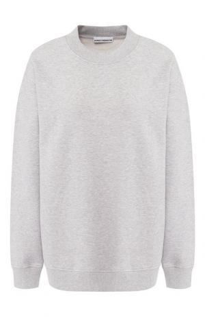 Хлопковый пуловер с круглым вырезом Paco Rabanne. Цвет: серый