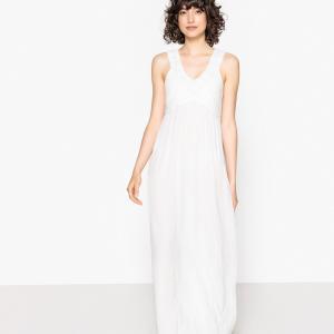 Платье длинное, верх связан крючком, сборки сзади LA REDOUTE COLLECTIONS. Цвет: синий индиго