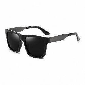 Солнцезащитные очки с акриловой оправой для мужчин SHEIN. Цвет: чёрный