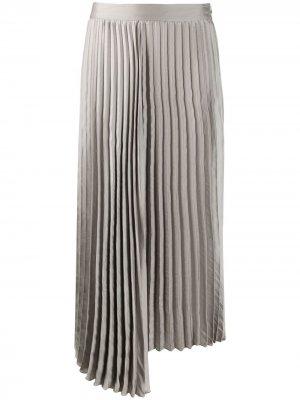 Плиссированная юбка асимметричного кроя Luisa Cerano. Цвет: серый