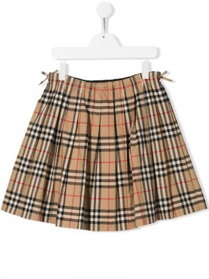 Плиссированная юбка Pearly Burberry Kids. Цвет: коричневый
