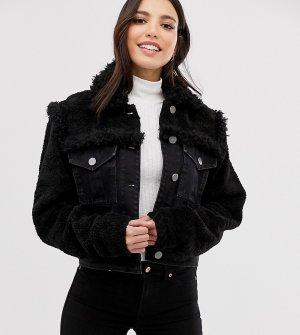 Черная джинсовая куртка с отделкой из искусственной цигейки ASOS DESIGN Tall-Черный Tall