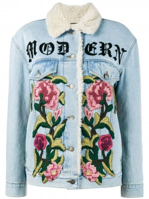 Джинсовая куртка с вышивкой Gucci. Цвет: синий