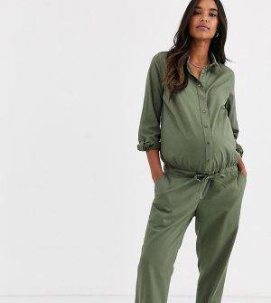 Комбинезон хаки для беременных в стиле милитари Mamalicious-Зеленый Mama.licious