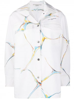 Graphic-print denim jacket Stella McCartney. Цвет: белый