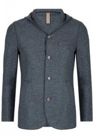 Однобортный пиджак с капюшоном ELEVENTY. Цвет: серый