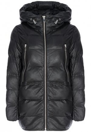 Утепленная кожаная куртка с капюшоном La Reine Blanche