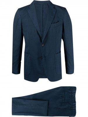 Костюм-двойка с однобортным пиджаком Bagnoli Sartoria Napoli. Цвет: синий