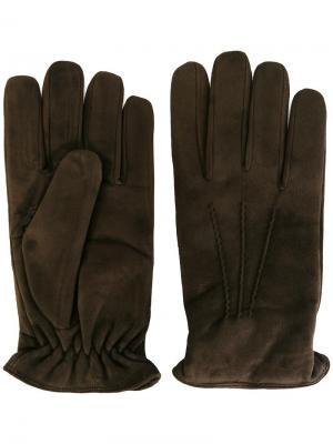 Перчатки с кашемировой подкладкой Lardini. Цвет: коричневый