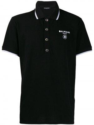 Рубашка-поло с логотипом Balmain. Цвет: черный