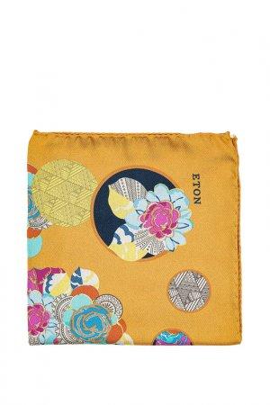 Карманный платок ETON. Цвет: желтый, голубой, узор, цветы