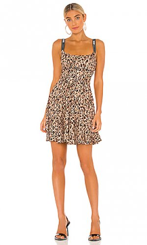 Мини платье leo print Versace Jeans Couture. Цвет: коричневый