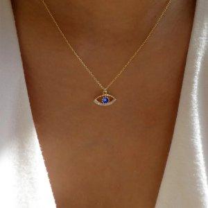Ожерелье со стразами с глазом SHEIN. Цвет: золотистый