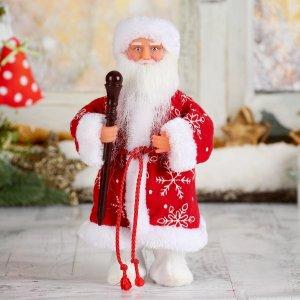 Дед мороз, в красной шубе и валенках, с посохом, без музыки, двигается Зимнее волшебство