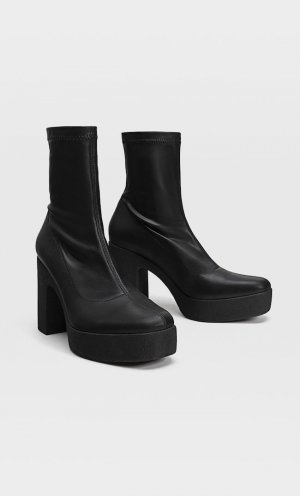 Эластичные Ботинки Челси На Платформе Черный 38 Stradivarius. Цвет: черный