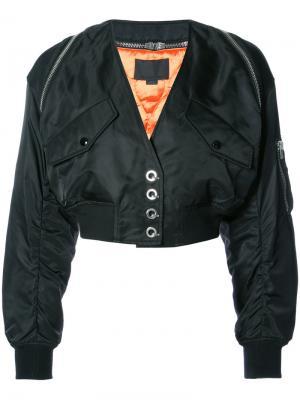 Укороченная куртка-бомбер с V-образным вырезом Alexander Wang. Цвет: черный