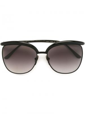 Солнцезащитные очки в круглой оправе Bottega Veneta Eyewear. Цвет: чёрный